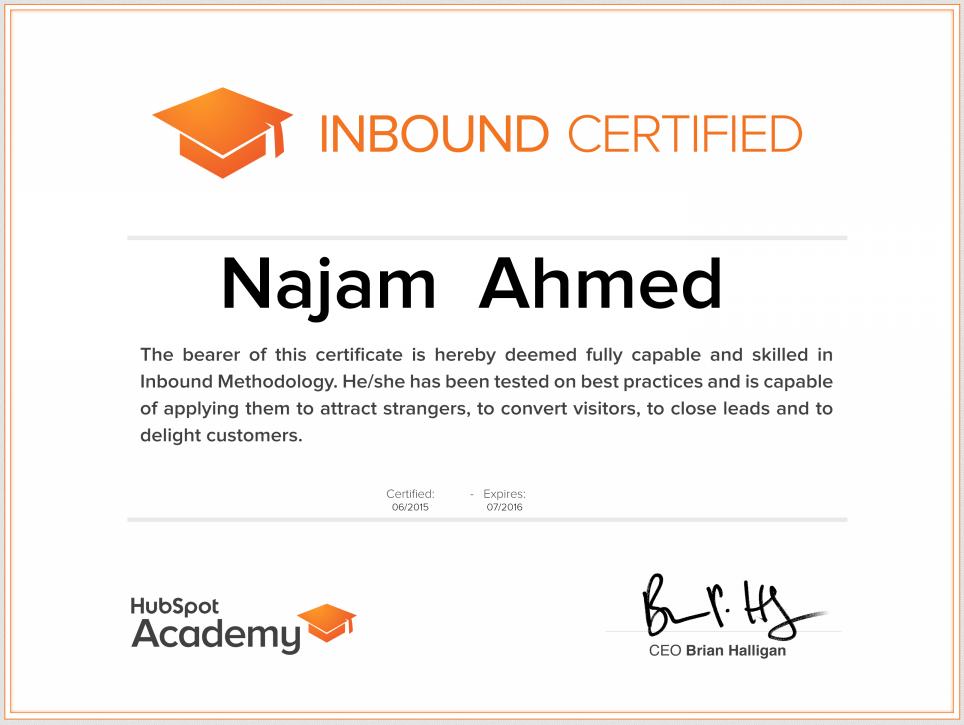 Najam Ahmed - Hubspot Inbound Certificate 2015 - 2016