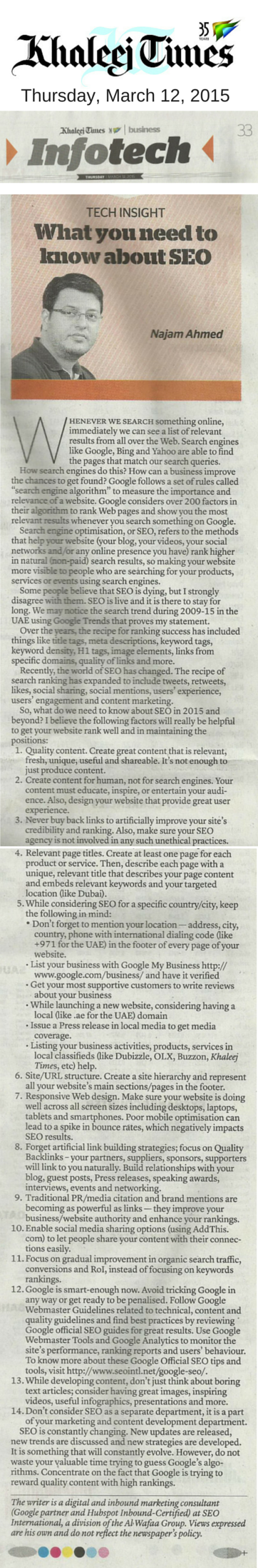SEO 2015 Khaleej Times Article - Mar 12, 2015